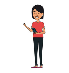 Beautiful businesswoman with smartphone avatar vector