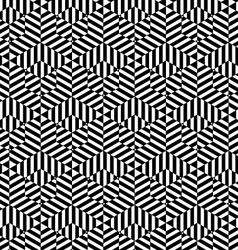 Black and white striped big and small hexagons vector