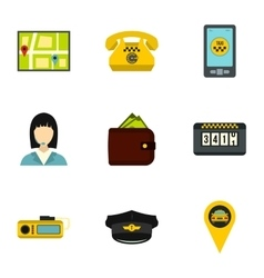 Call taxi icons set flat style vector image vector image