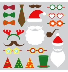 Christmas photo booth set vector image