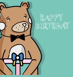 Cute wild bear with a big gift vector