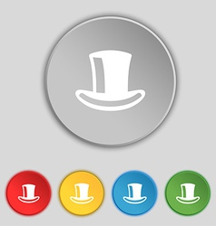Cylinder hat icon sign symbol on five flat buttons vector