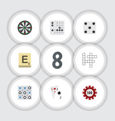 Flat icon entertainment set of poker mahjong vector