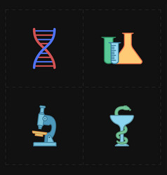 four flat medicine icons vector image vector image