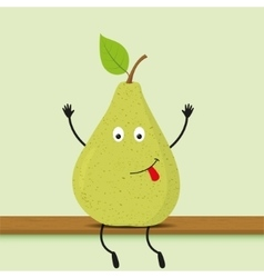 Funny cartoon green pear vector image