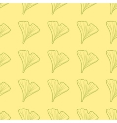 Ginkgo biloba pattern seamless silhouette of vector