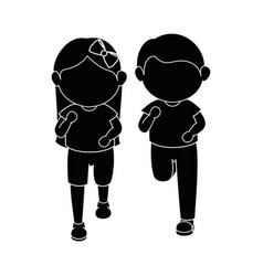 Girl and boy running vector