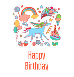 Happy birthday holiday card with sweets stars vector