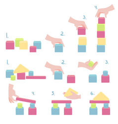 How to play wood block tower stack game with hand vector