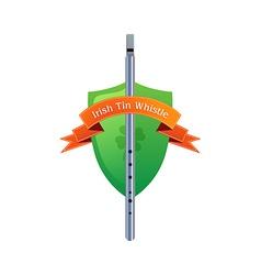 Irish Tin Whistle on Shield vector image