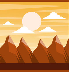 Landscape sunset in the mountains full moon and vector