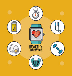 Light orange poster of healthy lifestyle with vector