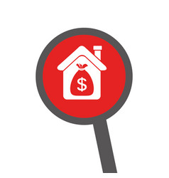 Loupe with silhouette house with bag with dollar vector