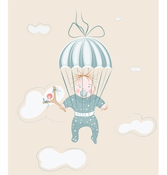 parachuting little boy with lollipop vector image vector image