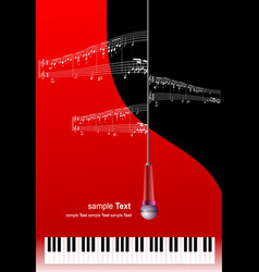 Piano with microphone and printing music with vector