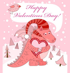 Pink dragon with heart vector image