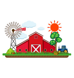 Scene with red barn and blue tractor vector