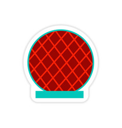 Stylish paper sticker on white background building vector