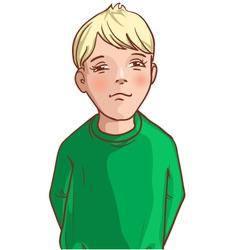 Teenager cartoon boy with blond hair vector image