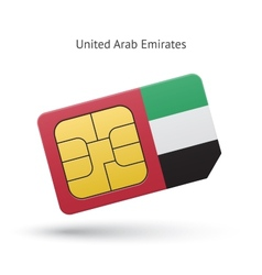 United arab emirates mobile phone sim card with vector