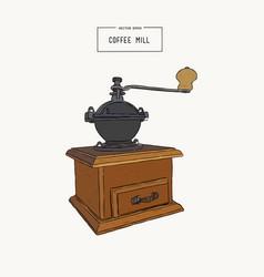 vintage coffee grinder hand drawn sketch vector image vector image