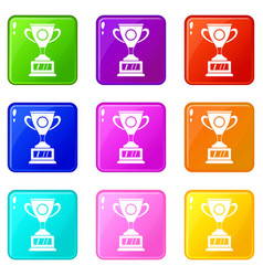 Winner cup icons 9 set vector