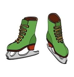 Winter ice skates hand drawn vector