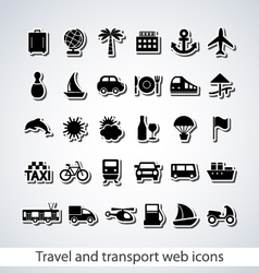Travel and transport web icons vector