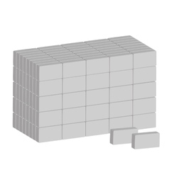 Stack of ordinary grey bricks on white background vector