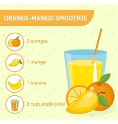 Orange and mango smoothie recipe with ingredients vector