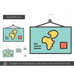 Geography line icon vector