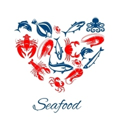 Seafood poster in heart shape symbol vector image