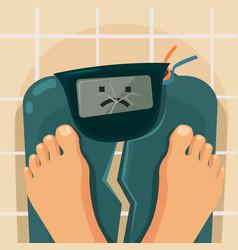 overweight people broken scales vector image
