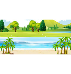 Two scenes of park and beach vector