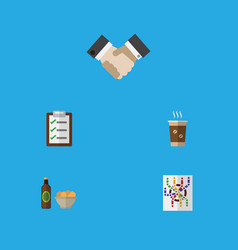 Flat icon oneday set of questionnaire beer with vector