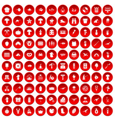 100 hobby icons set red vector