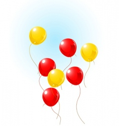 Balloons flying on sky vector