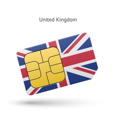 United kingdom mobile phone sim card with flag vector