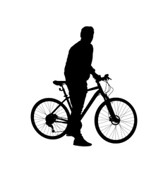 Silhouette man on a bicycle vector