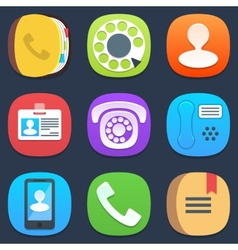 Set of phone and contacts mobile icons in flat vector
