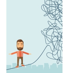 Businessman walking on rope at risk vector