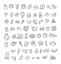 Big set of handwritten icons of childhood things vector