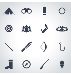 Black hunting icon set vector