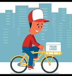 Delivery man riding bicycle vector