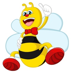 Cartoon bee giving thumb up vector