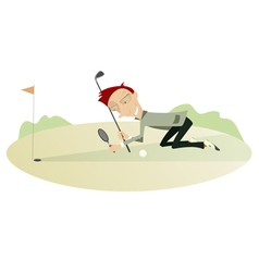 Smiling golfer on the golf course vector