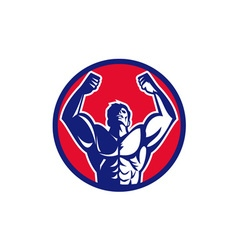 Body builder flexing muscles circle retro vector