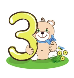 Number three and cheerful bear vector