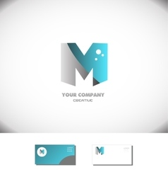Creative letter m logo alphabet icon blue grey vector