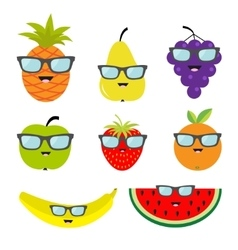 Fruit and berry set eyeglasses sunglasses cartoon vector